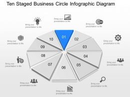 Uh Ten Staged Business Circle Infographic Diagram Powerpoint Template Slide