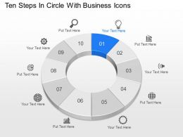 Uj Ten Steps In Circle With Business Icons Powerpoint Template Slide