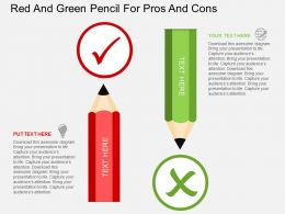 ul Red And Green Pencil For Pros And Cons Flat Powerpoint Design