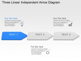 Ul Three Linear Independent Arrow Diagram Powerpoint Template Slide