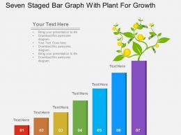 um Seven Staged Bar Graph With Plant For Growth Flat Powerpoint Design