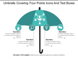 Umbrella Covering Four Points Icons And Text Boxes