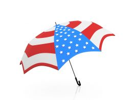 Umbrella Designed With American Flag Design Stock Photo