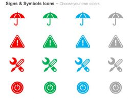 Umbrella Safety Icon Repair Tools Power Off Ppt Icons Graphics