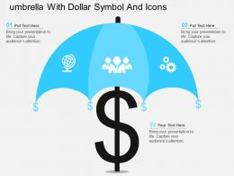 Umbrella With Dollar Symbol And Icons Flat Powerpoint Design