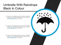 Umbrella With Raindrops Black In Colour