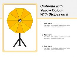 Umbrella With Yellow Colour With Stripes On It