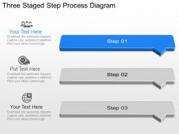 Un Three Staged Step Process Diagram Powerpoint Template Slide