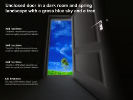 Unclosed Door In A Dark Room And Spring Landscape With A Grass Blue Sky And A Tree