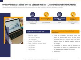 Unconventional Source Of Real Estate Finance Convertible Debt Instruments Analyse Real Estate Finance Sources