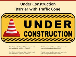 Under Construction Barrier With Traffic Cone