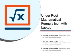 Under Root Mathematical Formula Icon With Laptop
