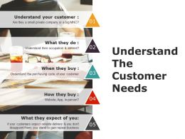 Understand The Customer Needs Ppt Icon
