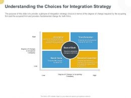 Understanding The Choices For Integration Strategy Ppt Powerpoint Presentation Outline