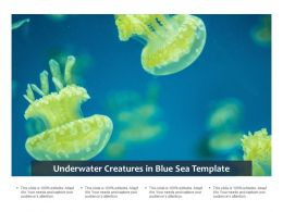 Underwater Creatures In Blue Sea Template
