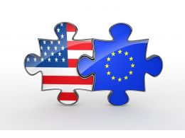 Union Of America And Europe With Flag Design Puzzles Stock Photo