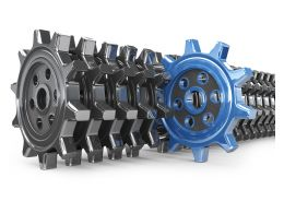 Unique Blue Gear In Black Gears Stock Photo