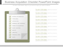 Unique Business Acquisition Checklist Powerpoint Images