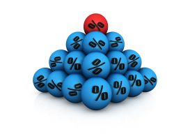 Unique Discount Symbol On Blue Balls Stock Photo