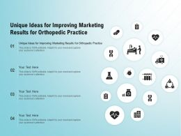 Unique Ideas For Improving Marketing Results For Orthopedic Practice Ppt Slides