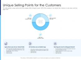 Unique Selling Points For The Customers Raise Funds After Market Investment Ppt Layouts Model