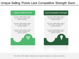 Unique Selling Points Lack Competitive Strength Swot Analysis
