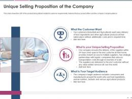 Unique Selling Proposition Of The Company Pitch Deck Raise Grant Funds Public Corporations Ppt Tips