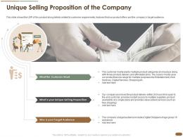 Unique Selling Proposition Of The Company Selling Customer Target Ppt Pictures Graphics Design