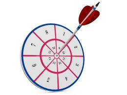 Unique Target Dart With Arrow Hitting The Centre Stock Photo