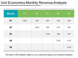 Unit Economics Monthly Revenue Analysis