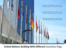 United Nations Building With Different Countries Flags