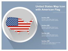 United States Map Icon With American Flag