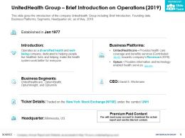 UnitedHealth Group Brief Introduction On Operations 2019