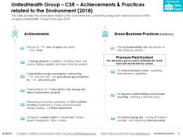 UnitedHealth Group CSR Achievements And Practices Related To The Environment 2018