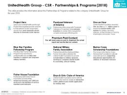 UnitedHealth Group CSR Partnerships And Programs 2018