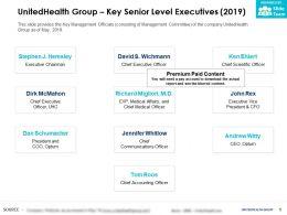 UnitedHealth Group Key Senior Level Executives 2019