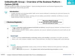 UnitedHealth Group Overview Of The Business Platform Optum 2018