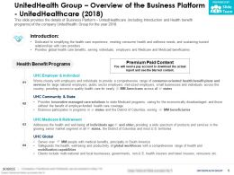 UnitedHealth Group Overview Of The Business Platform UnitedHealthcare 2018