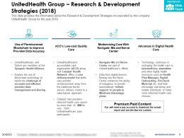 UnitedHealth Group Research And Development Strategies 2018