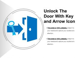 Unlock The Door With Key And Arrow Icon