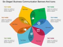 up Six Staged Business Communication Banners And Icons Flat Powerpoint Design