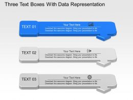 Up Three Text Boxes With Data Representation Powerpoint Template Slide