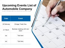 Upcoming Events List Of Automobile Company