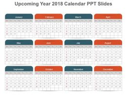 upcoming year 2018 Calendar ppt slides