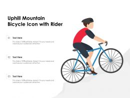 Uphill Mountain Bicycle Icon With Rider
