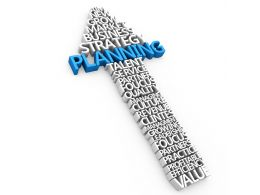 Upward Arrow With Planning Word For Business Stock Photo