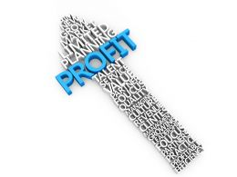 Upward Arrow With Profit Word For Business And Sales Stock Photo