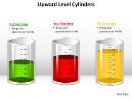 upward level cylinders glass beakers measuring with liquid half filled powerpoint diagram templates graphics 712