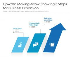Upward Moving Arrow Showing 3 Steps For Business Expansion