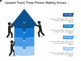 Upward Trend Three Person Making Arrows Puzzle With Text Boxes